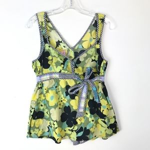 Free People Floral Back Button Down Tank Top #1065